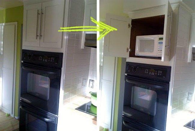 Esconde el microondas en un armario de la cocina for Mueble para microondas