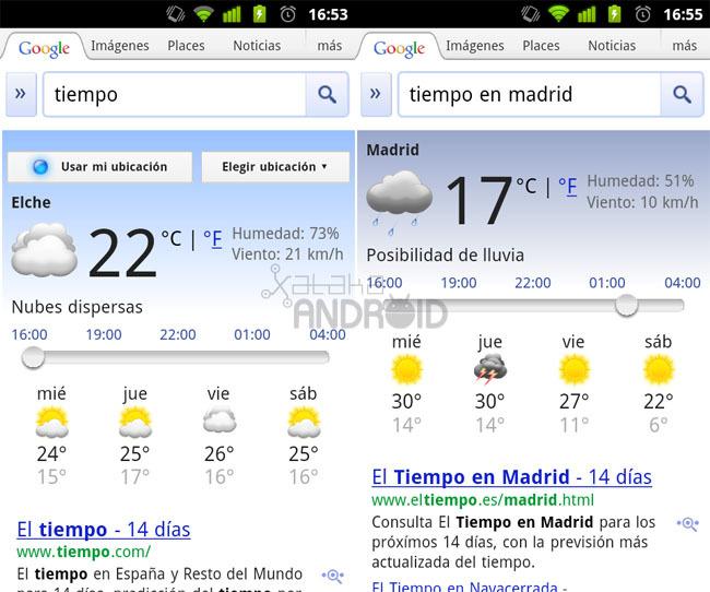 Google Search: El tiempo
