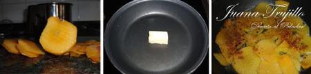 Preparación de los melocotenes fritos con salsa de miel