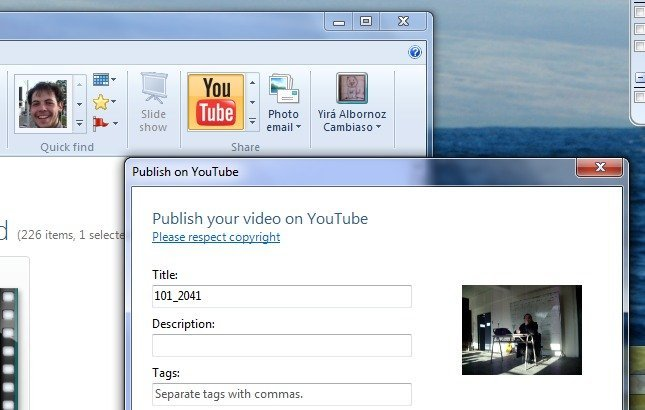 Publicar en YouTube con Photo Gallery