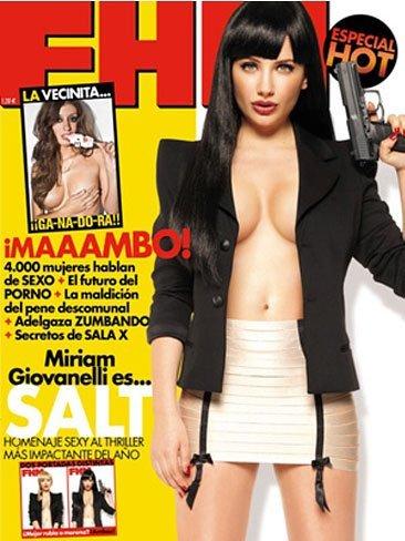 Miriam Giovanelli, a lo Angelina Jolie (me meo...), en FHM