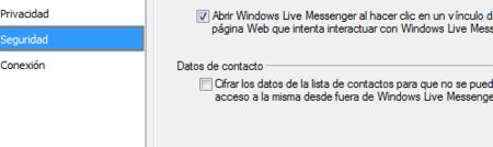 Desactivando cifrado de contactos en Messenger