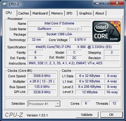 Intel Core i7-980X CPUZ