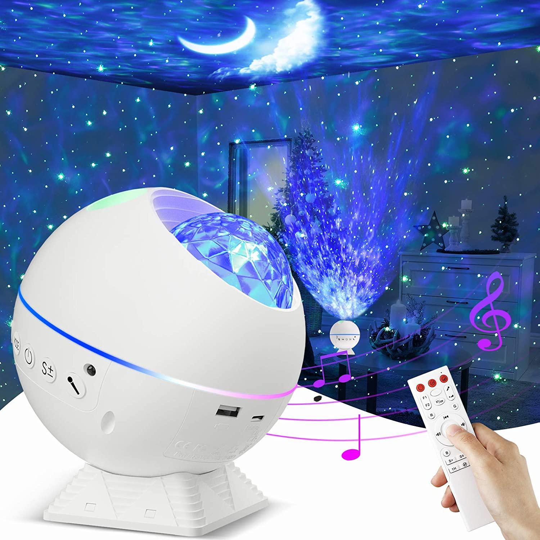 Estrella Proyector, THEGUS 4 en 1 Galaxy Proyector, Luz Nocturna Proyector para Niños con Altavoz Bluetooth, Brillo Ajustable, Temporizador/Colocación Multiángulo/10 Colores para Dormitorio/Fiesta