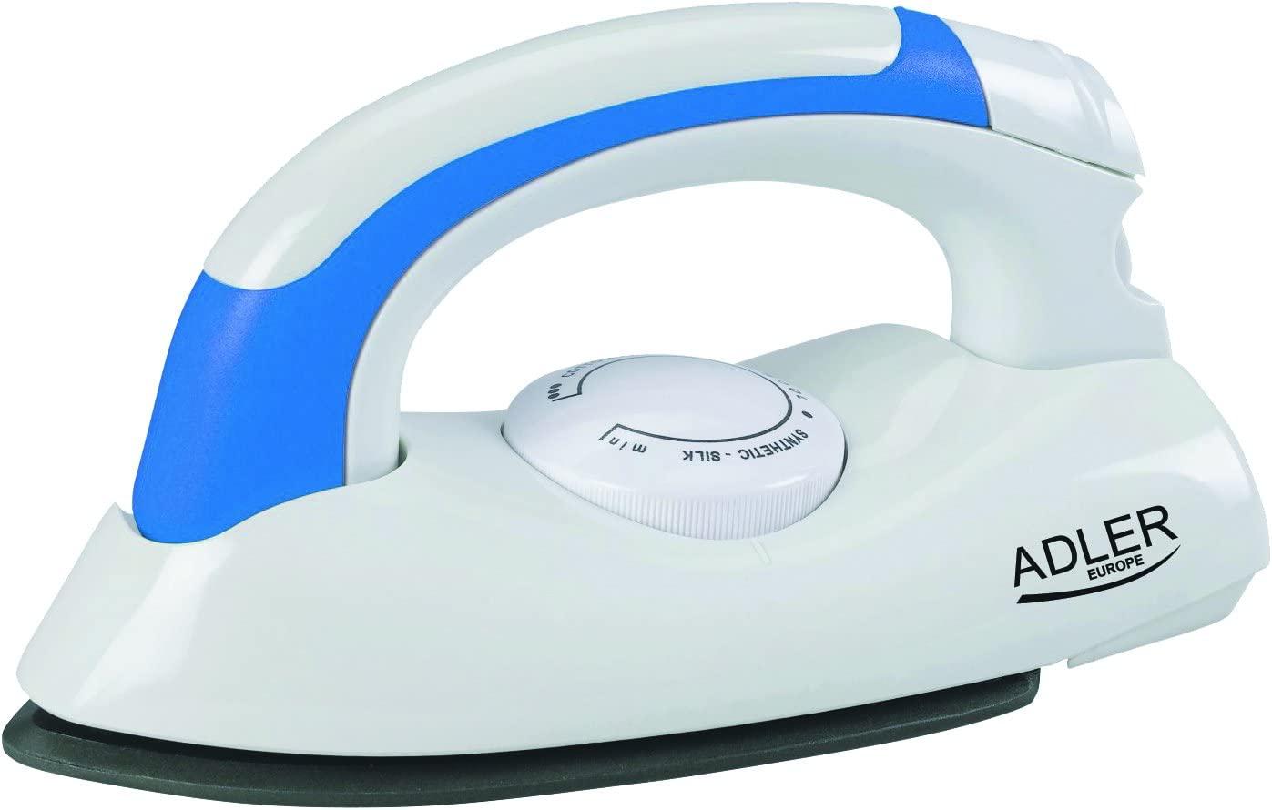 Adler AD-5015 Plancha de Viaje, 700 W, 0 Decibeles, Acero Inoxidable, Blanco/Azul [Clase de eficiencia energética A]