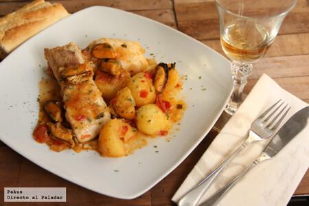 Guiso de merluza con patatas y mejillones a la marinera, receta de aprovechamiento