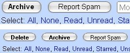Botón Eliminar en Gmail