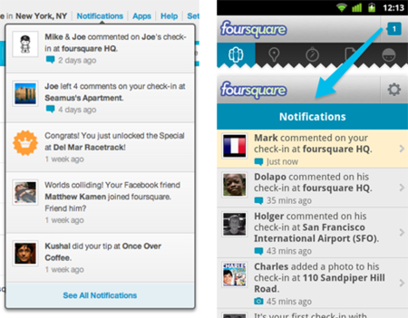 notificaciones foursquare