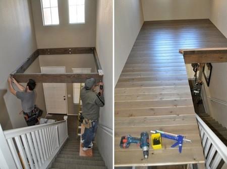 Antes y despu s de espacio desaprovechado junto al techo a altillo para trabajar y jugar - Como hacer un altillo de madera ...