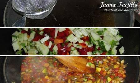 Preparación de las verduras en escabeche