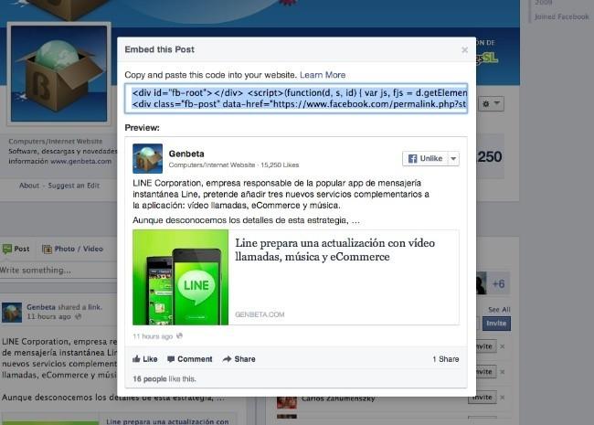facebook embed incluir noticias web
