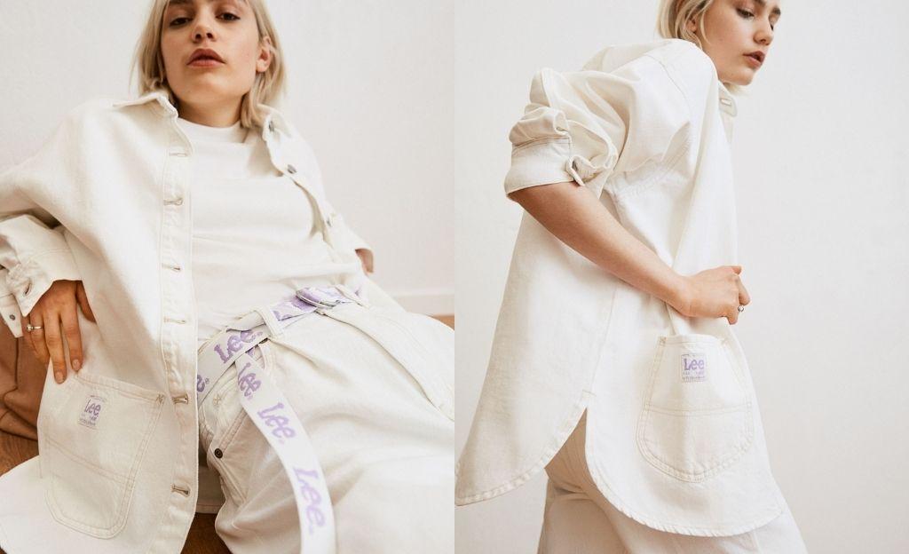 Lee x H&M. Chaqueta camisera oversize en denim de mezcla de algodón orgánico y algodón reciclado. Modelo con cuello, botones de metal y bolsillos delanteros con la clásica costura de refuerzo en X de Lee y el logotipo Lee en tejido de poliéster reciclado.
