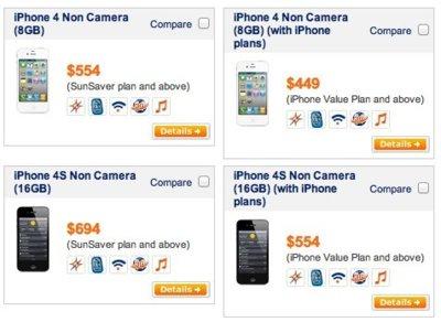 Apple comercializa versiones especiales del iPhone 4 y el iPhone 4S sin cámara para Singapur