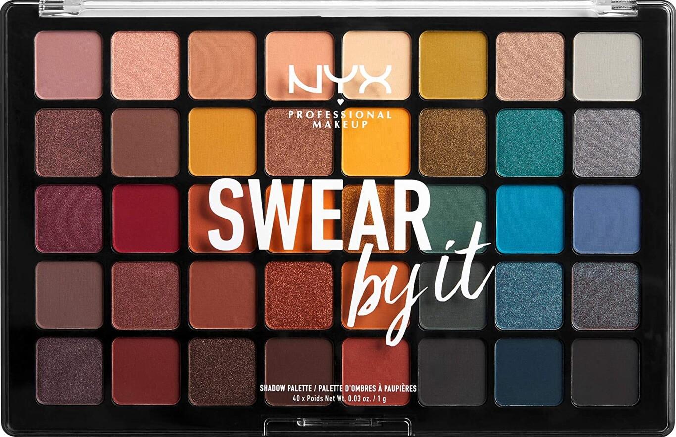 NYX Professional Makeup Paleta de sombra de ojos Swear By It Eye Shadow Palette, Acabado mate, satinado y metalizado