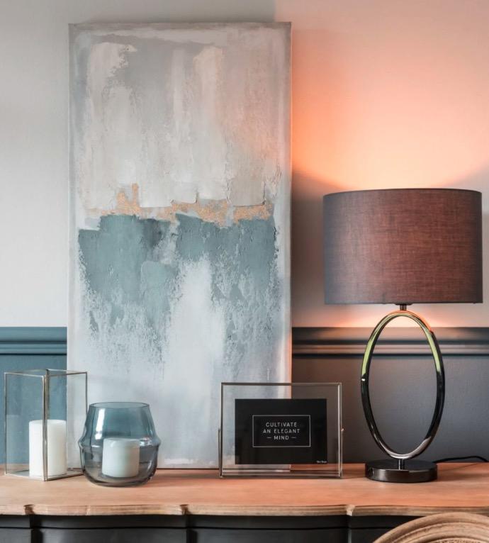 Lámpara anillo de metal con pantalla gris Ovalie