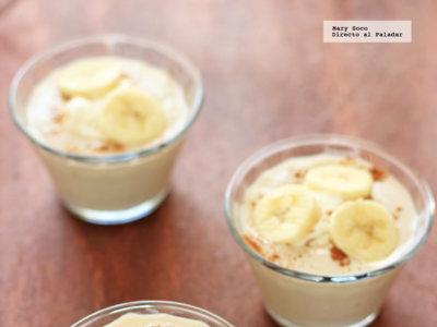 Mousse de plátano y yogur. Receta