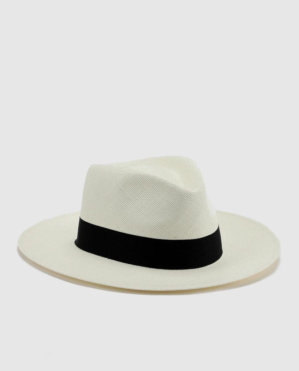 Sombrero de hombre blanco con cinta ancha