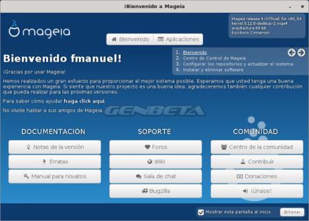Mageia-4 nueva pantalla de bienvenida