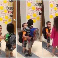 Música, dibujo y... ¡abrazos! Alumnos de una guardería de Texas comienzan su día con muestras de afecto