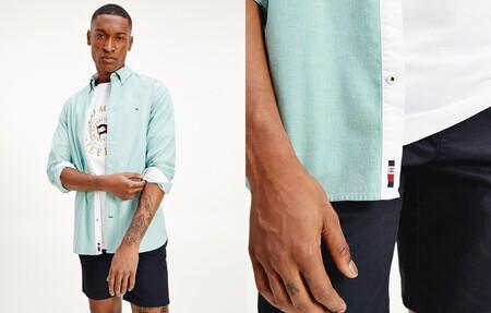 Camisa De Hombre Slim Con Microestructura De Manga Larga Verde