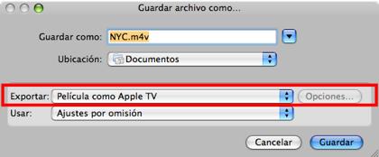 QuickTime 7.1.5 permite exportar a AppleTV