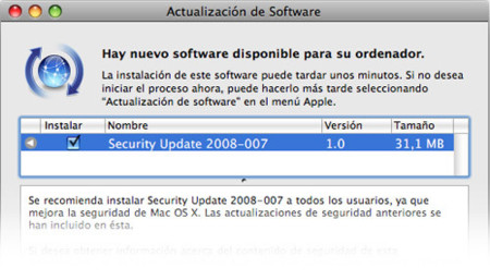 Actualización de software: Security Update 2008-007