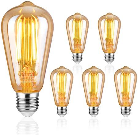 Uchorlls Bombilla de Filamento LED E27, 6W