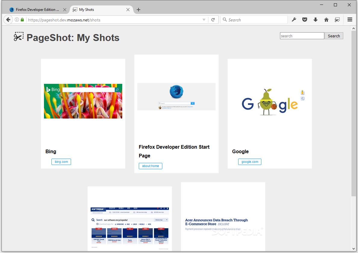 Mozilla prepara Page Shot: un sistema nativo de capturas de pantalla para Firefox