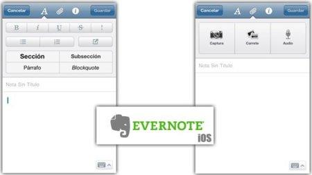 Evernote para iOS incluye texto enriquecido