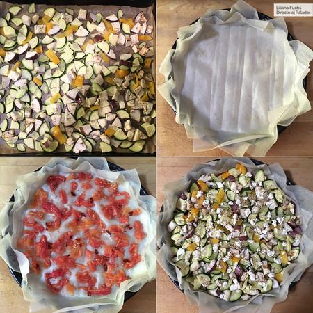 Tarta Salada con masa brick. Pasos