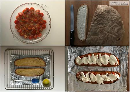 Paso A Paso Llescas de tomate, mozarella y rúcula