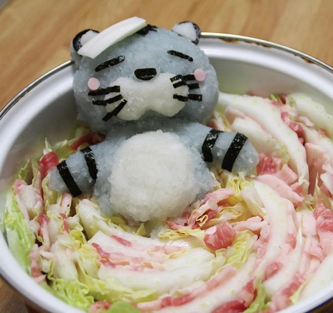 Baño Portatil Japones:Daikon Masanori Kono esculturas comestibles rábano rallado