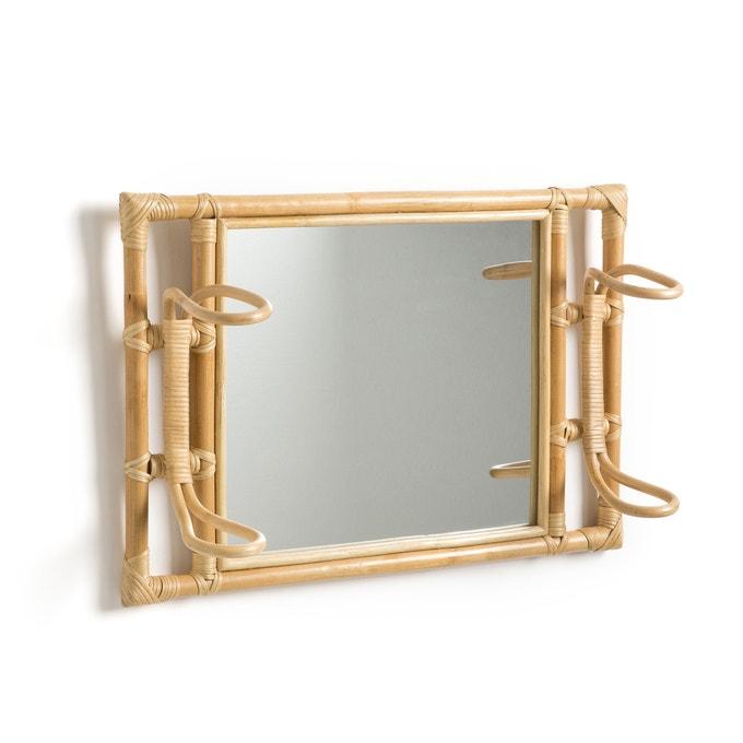 Espejo de ratán con colgador