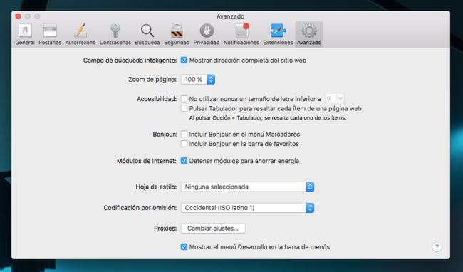 Safari Mac™ Ajustes