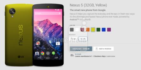 Aparecen imágenes del Nexus 5 en diferentes colores