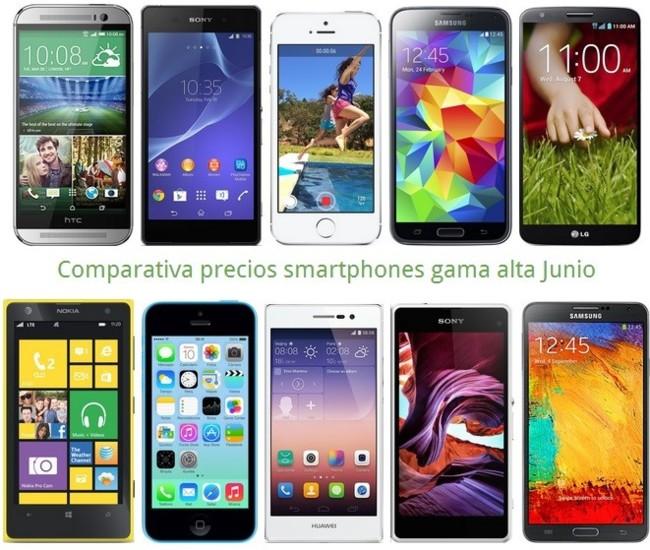Comparativa Precios Huawei P7, Galaxy S5, One M8, Xperia Z2, iPhone 5s y otros gama alta en Junio