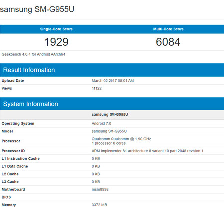 Samsung Galaxy S8 benchmarks
