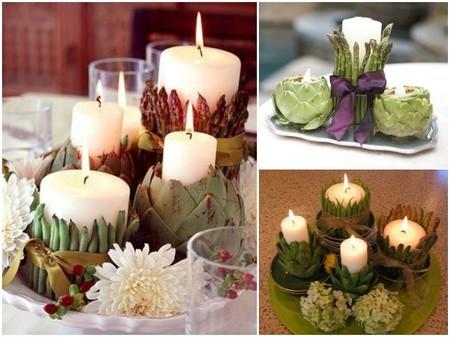 Ideas decorativas con alcachofas, espárragos y velas