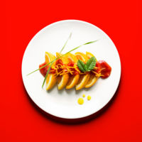 Sushi de naranja con salsa de tomate