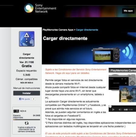 Sony NEX 6 cargar aplicaciones desde ordenador