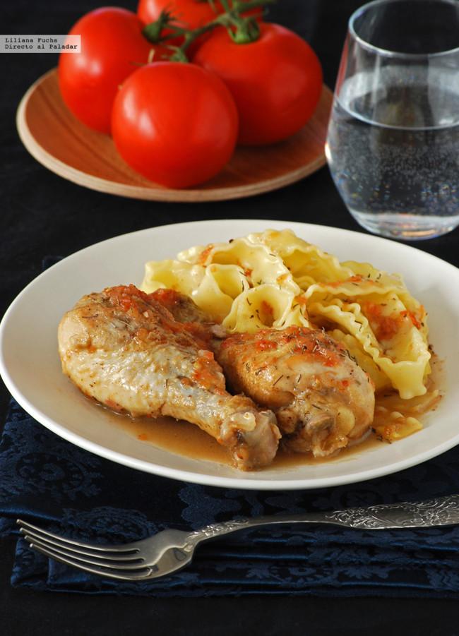 Muslos de pollo al vinagre de Jerez. Receta de inspiración francesa