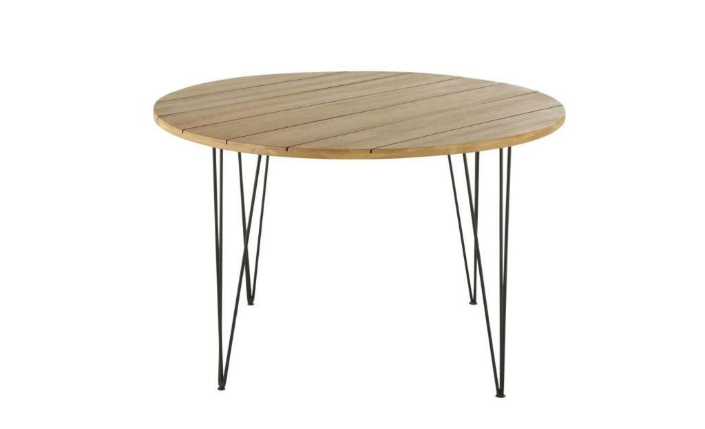 Mesa de jardín redonda de acacia maciza y metal negro para 4 plazas D.120