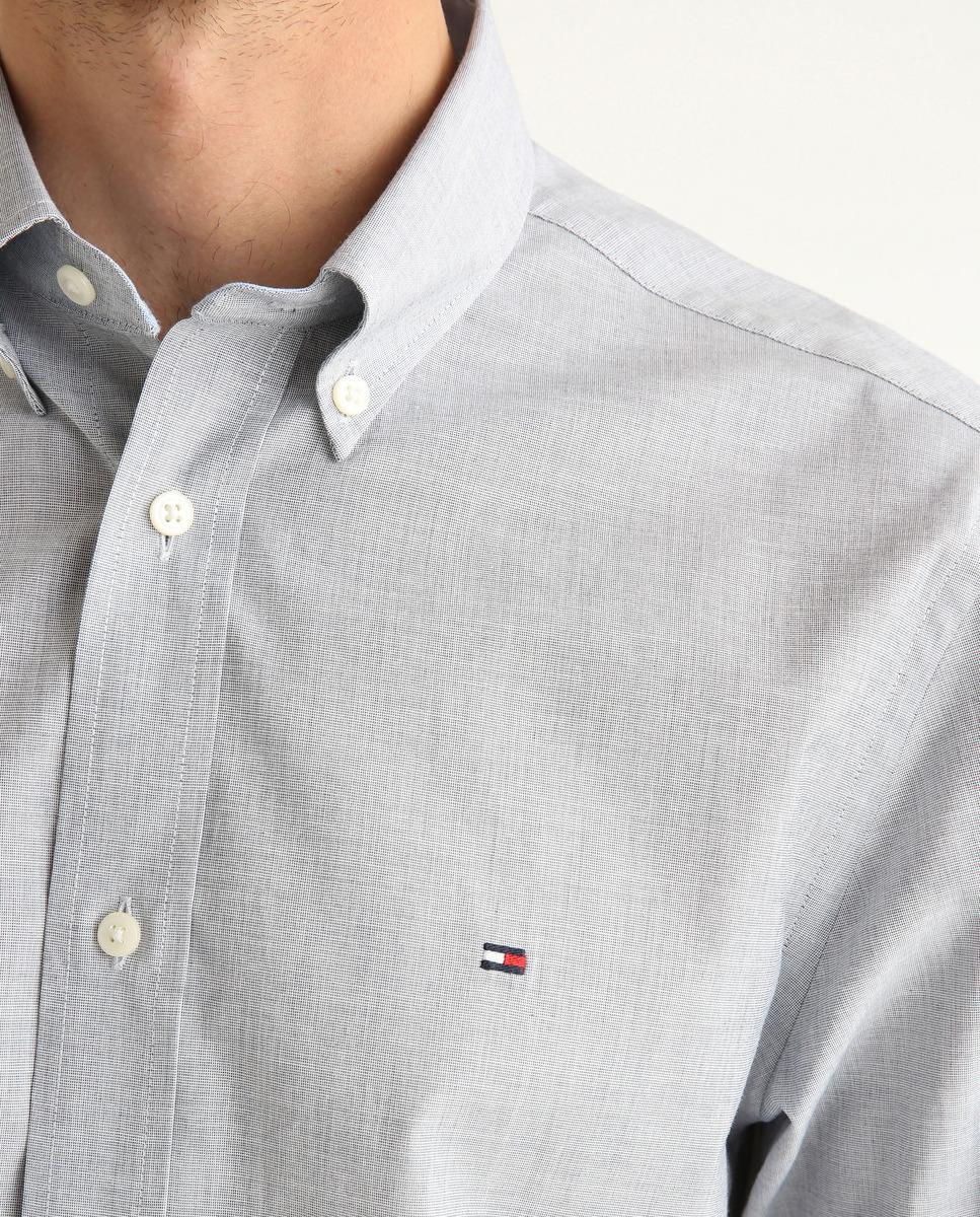Camisa de hombre regular lisa manga larga azul marino