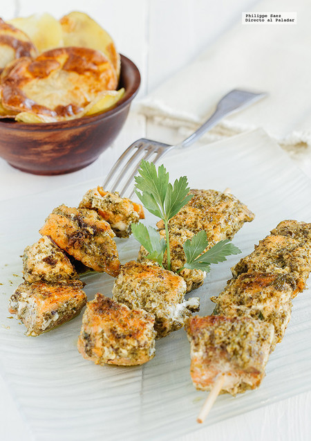 Brochetas De Salmon Al Pesto