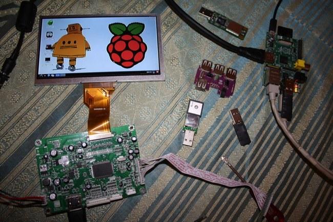 Algunos de los componentes de LapPi