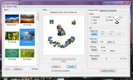 Shape Collage, crea fácilmente atractivos collages con tus imágenes