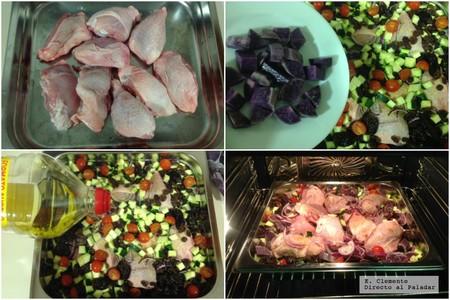 pollo al horno con frutas secas y patas violeta