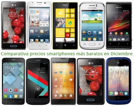 Comparativa precios smartphones más baratos con los operadores en Navidad