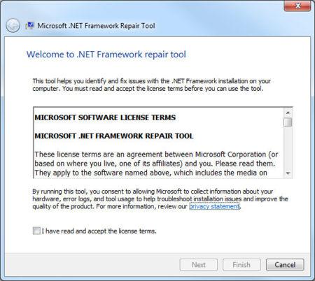 .Net Framework Repair Tool: licencia