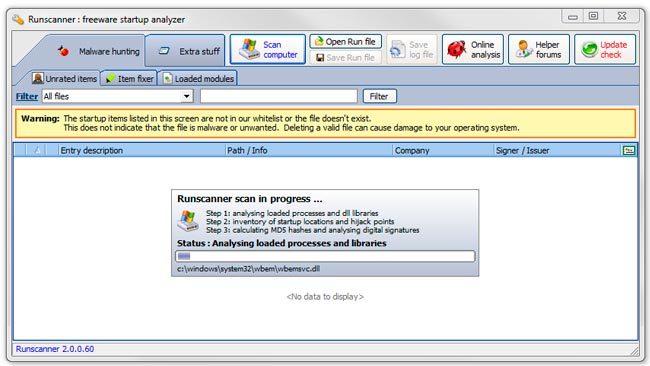 Información sobre el arranque de tu sistema con RunScanner